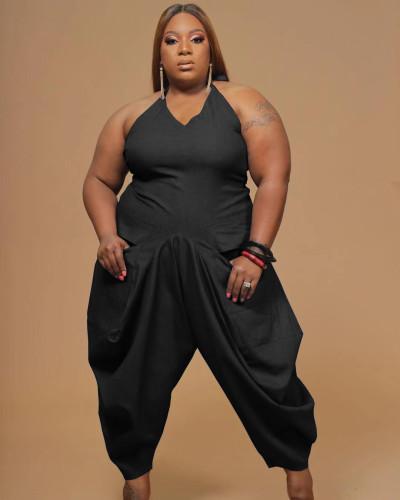 Fashion women's plus size 5XL solid color sling harem jumpsuit Q7167