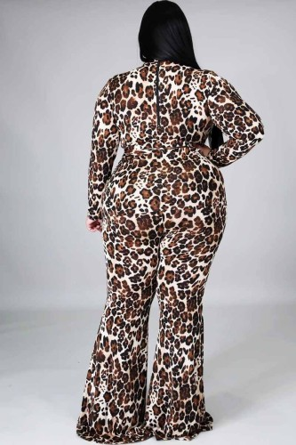 Fashionable European and American women's leopard print casual jumpsuit Q7137