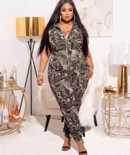 Fashion camouflage print green street hipster clothing European and American women's jumpsuit MY062