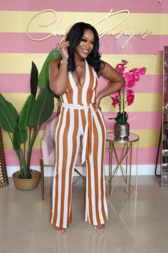 Fashion casual colorful striped print strappy sexy jumpsuit MY057