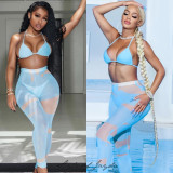 Swimsuit see-through mesh trousers, long skirt, three-piece suit FFD1124