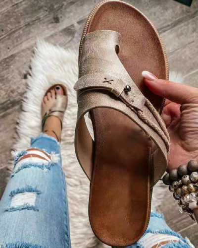 New summer women's shoes foreign trade plus size retro style set-toe flat-bottomed sandals and slippers women HWJ496