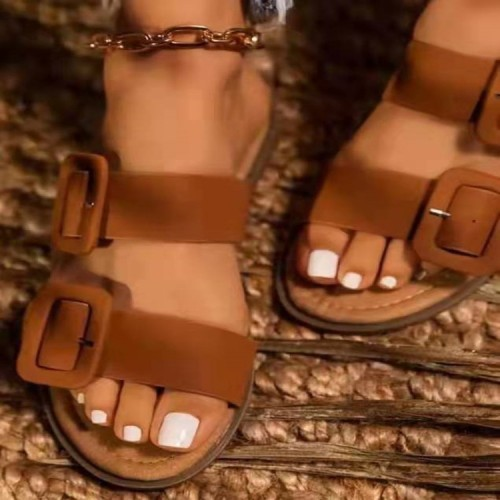 Casual summer women's shoes large size big buckle solid color soft sole comfortable one-foot sandals and slippers HWJ461