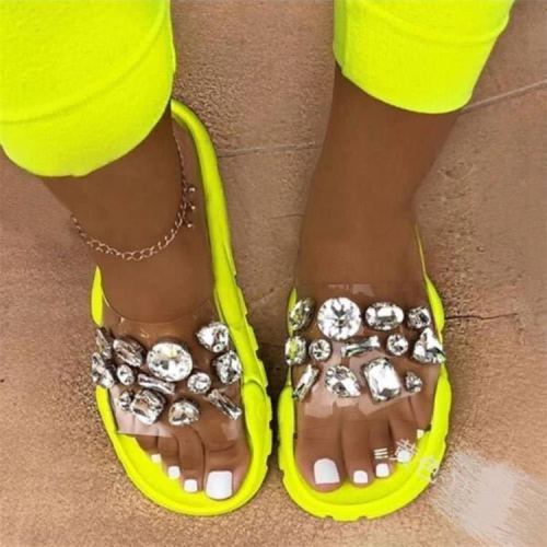 Summer new style large size foreign trade women's shoes colorful wide-soled rhinestones thick-soled pedal sandals and slippers women HWJ458
