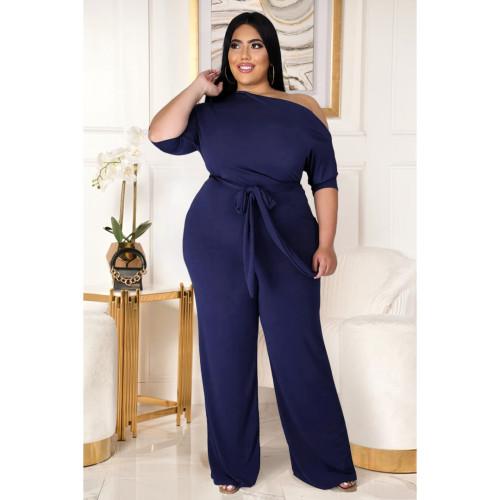 Fashion plus size women's solid color strappy shoulder flared jumpsuit AP7016