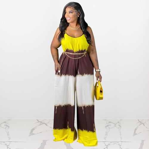 Plus size women's clothing spot positioning printing contrast color sling wide leg plus size jumpsuit J21S6071