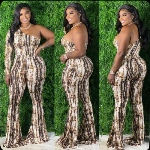 Plus size women's clothing printed one-shoulder long-sleeved slim sexy jumpsuit J21S6080