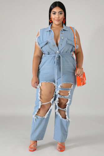 Oversized fat woman long-sleeved frosted washed ripped denim jumpsuit QJ6109