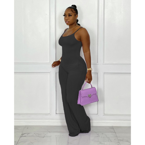 Solid color ladies jumpsuit sexy mopping floor sleeveless jumpsuit summer and autumn YY5299
