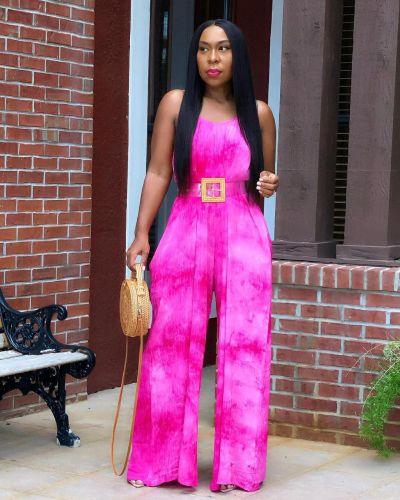 Oversized women's sling loose tie-dye printed jumpsuit Y81327