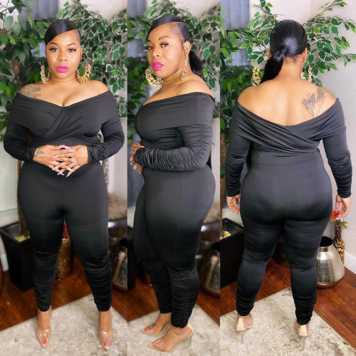 Women's plus size women's nightclub clothes pleated pleated one-shoulder sexy jumpsuit AP7002