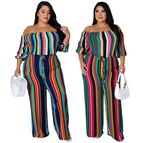 Fashion plus size women's fashion colorful striped bandage wide-leg jumpsuit AP7053