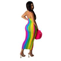 Fashion sexy deep V stripe gradient print sling bag hip skirt N9289