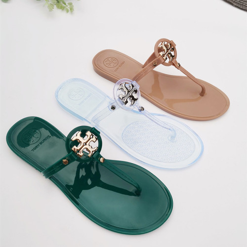 PVC jelly sandals and slippers flat flip-flops with metal buckle beach slippers for outer wear 651351415002