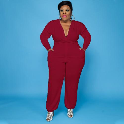 Large size European and American women's solid color bat shirt pocket zipper jumpsuit PH13248