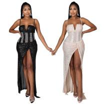 Sexy fashion sequin sling V-shaped irregular high slit dress long skirt CY9197