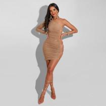 Fashion sexy nightclub party hot diamond side hollow oblique shoulder bag hip dress CY9215