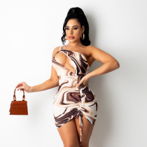 Women's 2021 autumn new one-shoulder sexy hollow wrinkle printed bag hip dress D175775W