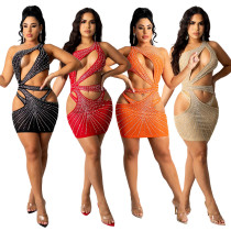 Fashion new sexy nightclub style hot drill exposed umbilical A-line package hip hollow dress CY9228