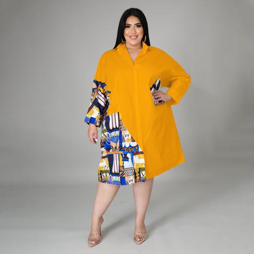 Featured stitching plus size ladies shirt dress DHN004