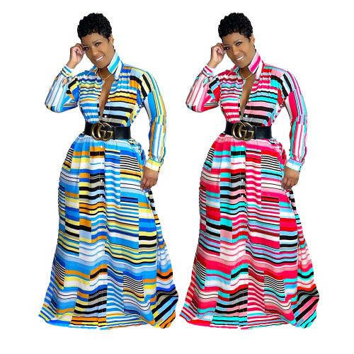 Irregular Print Lapel Long Sleeve Autumn Ladies Long Dress MM2128
