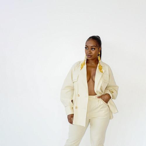 Pure color fashion casual lady suit HN048