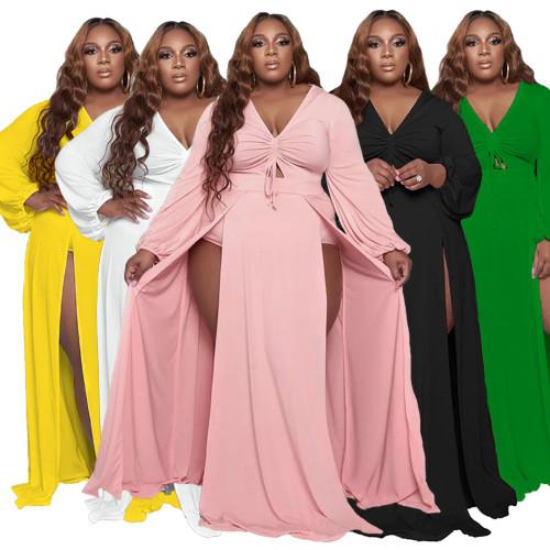 Pure color drawstring adjustable V-neck split sexy dress DHN001