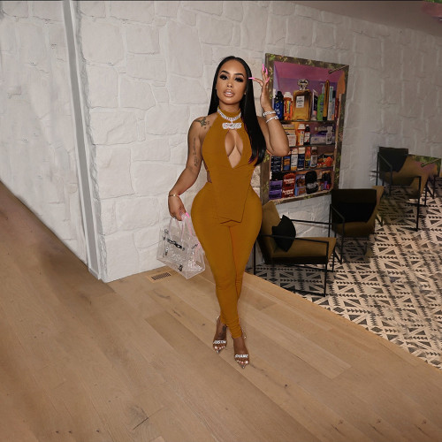 Pure color reflective naked back sexy two-piece suit HN015