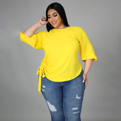 Solid color round neck lady fat lady large size irregular long-sleeved blouse MM2115