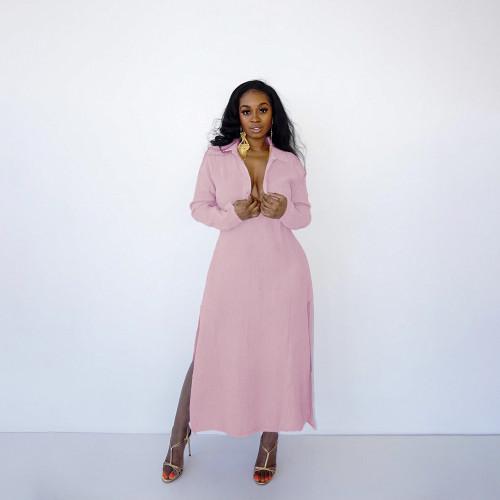 Women's hot style loose casual solid color long split ladies dress HN052