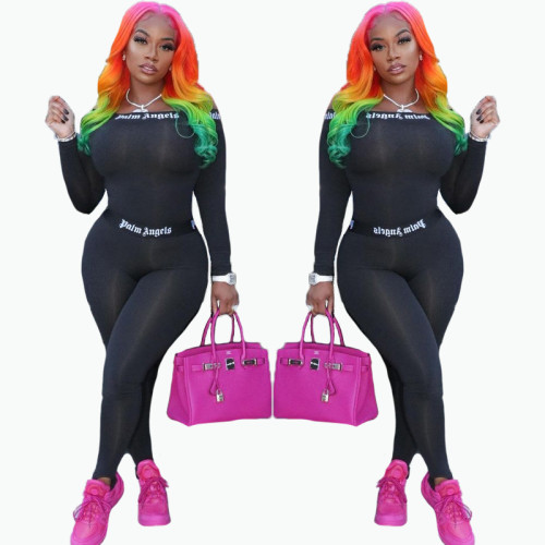 Fashion brand cross-border printed sexy tight sports suit 2-piece set FFD1134