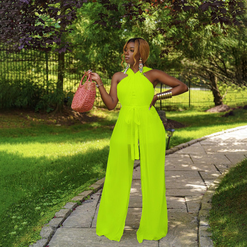 New sexy slim-fit mesh lace-up jumpsuit HN040