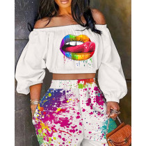 Women's autumn new arrival one-shoulder printed lips fashion casual two-piece suit A8631