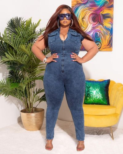 European and American fat ladies women's clothing plus size stretch snowflake jumpsuit QJ5294