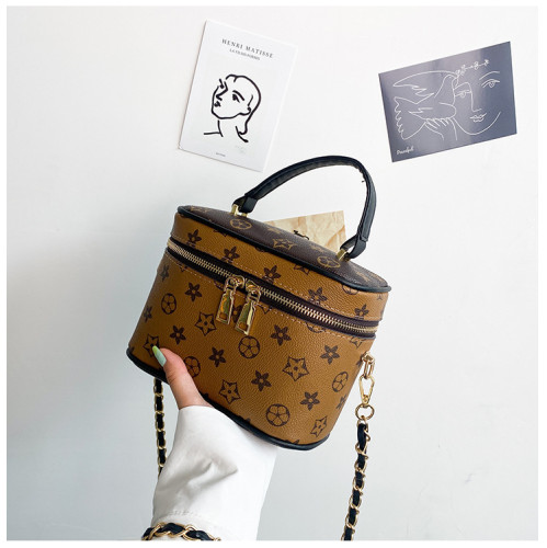 New retro cosmetic box bag old flower bucket bag handbag chain shoulder messenger bag lunch box bag Bags652349124861