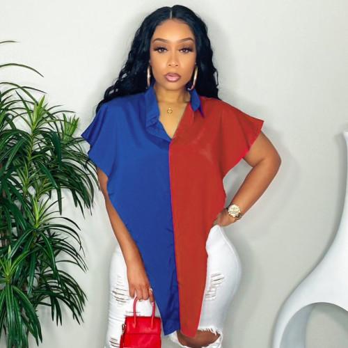Women's fashion temperament sleeveless shirt, color matching shirt women QY21388