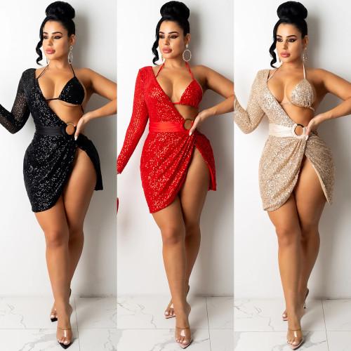 Women's sexy sequins irregular dress nightclub skirt women X5307
