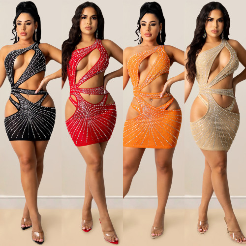 Nightclub sexy solid color women's hot drilling mesh one-shoulder hollow skirt dress X5283