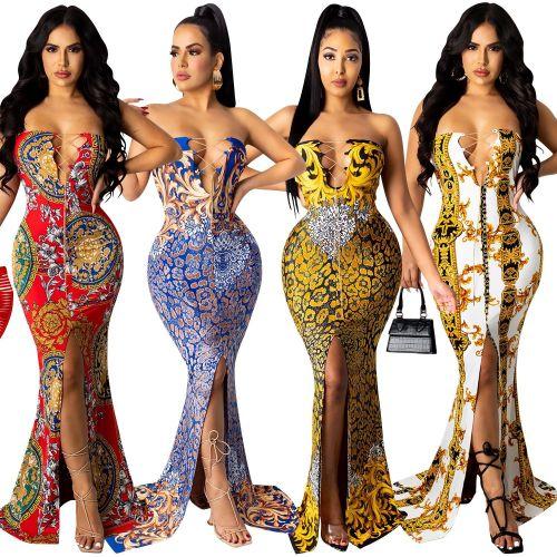 Fashion print sleeveless chain tie chest waist slit long skirt dress X5166