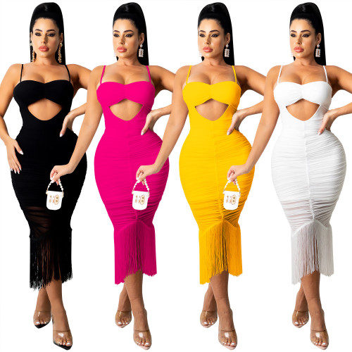 Pure color fashion women's sexy sling strap wrapped chest hollow flow beard mid-skirt dress X5225