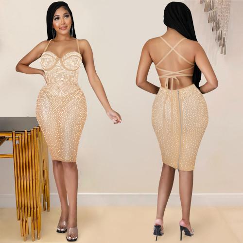 Sexy sling halter nightclub party hot diamond perspective dress women X5313
