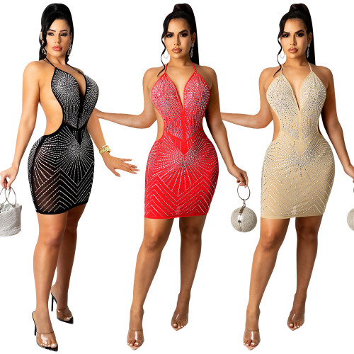 New product nightclub sexy hot drilling mesh see-through solid color sling V-neck women's dress female X5251