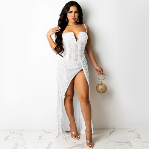 Nightclub hot diamond sequins mesh sexy suspenders V-neck slit long skirt dress women X5263