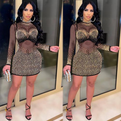 Women's dress, hot diamond, perspective, slim dress K8969