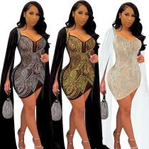 Women's dress, hot diamond, perspective, slim dress VK2203