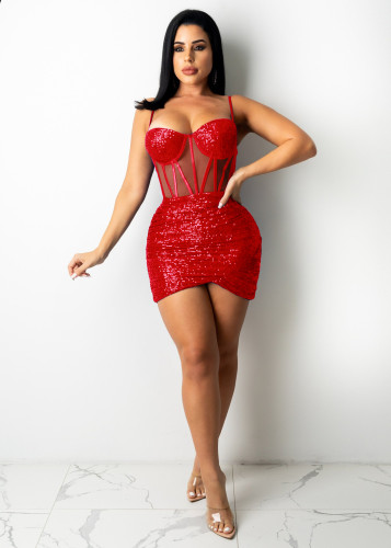 Sexy suspenders dress nightclub clothes A7194
