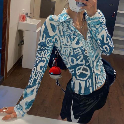2021 Fall Fashion Trend Women's Long Sleeve Lapel Cardigan Print Slim Shirt CC21043