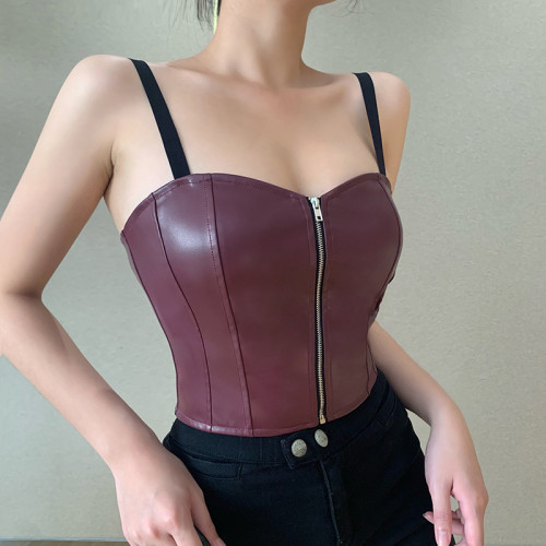2021 new leather corset European and American cross-border character stitching nostalgic retro INS style zipper PU leather vest 218031P