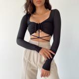 Women's 2021 Women's Hollow Cross-Tie Sexy Inner Navel T-shirt Tube Top CC21107