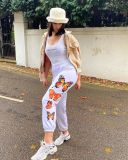 Autumn cross-border women's clothing butterfly print casual pants European and American loose track pants FFD1137